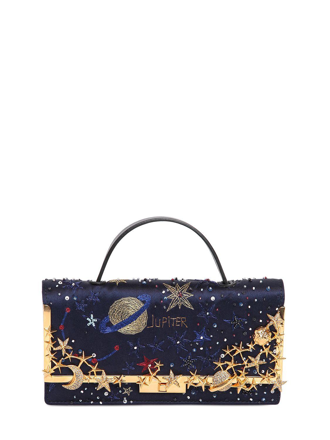e4b4b0bb08 Valentino Cosmos Embroidered Satin Clutch in Blue - Lyst