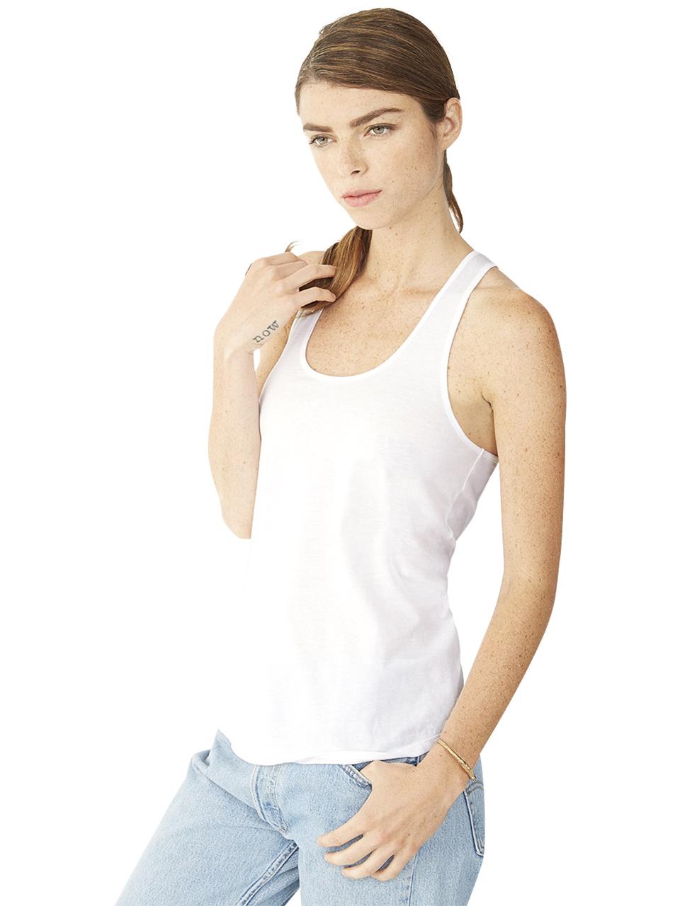 alternative apparel satin jersey shirttail tank top in