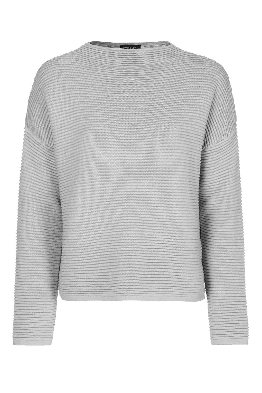 Topshop Horizontal Ribbed Sweatshirt in Gray | Lyst