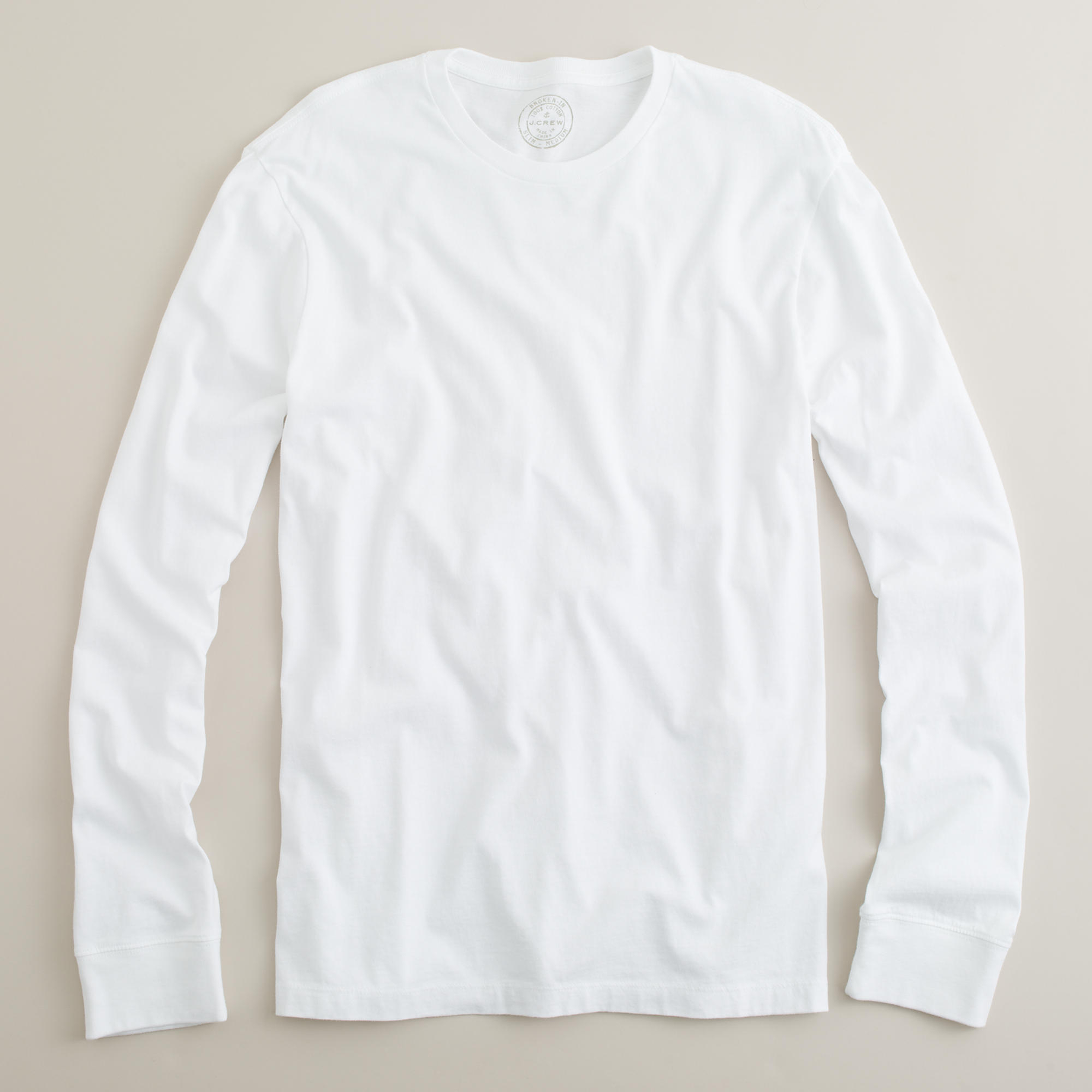Slim fit long sleeved cotton t shirt in white for for Long sleeve fitted tee shirt