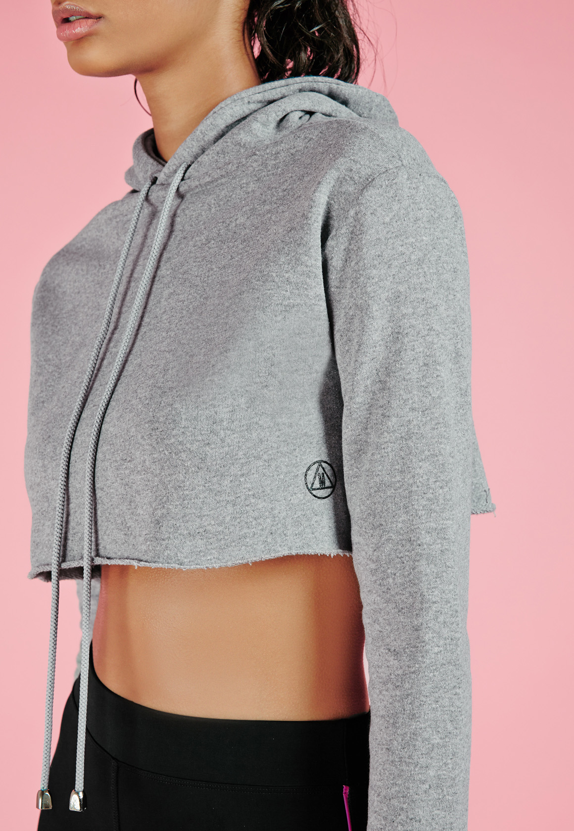 b504efe5 Missguided Active Raw Edge Cropped Hoodie Grey in Gray - Lyst