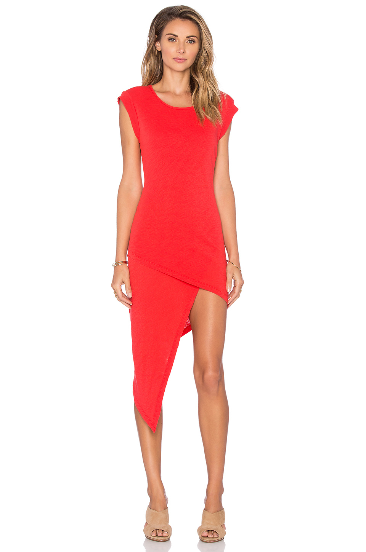 Bobi Cotton Slub Asymmetrical Midi Dress in Red | Lyst