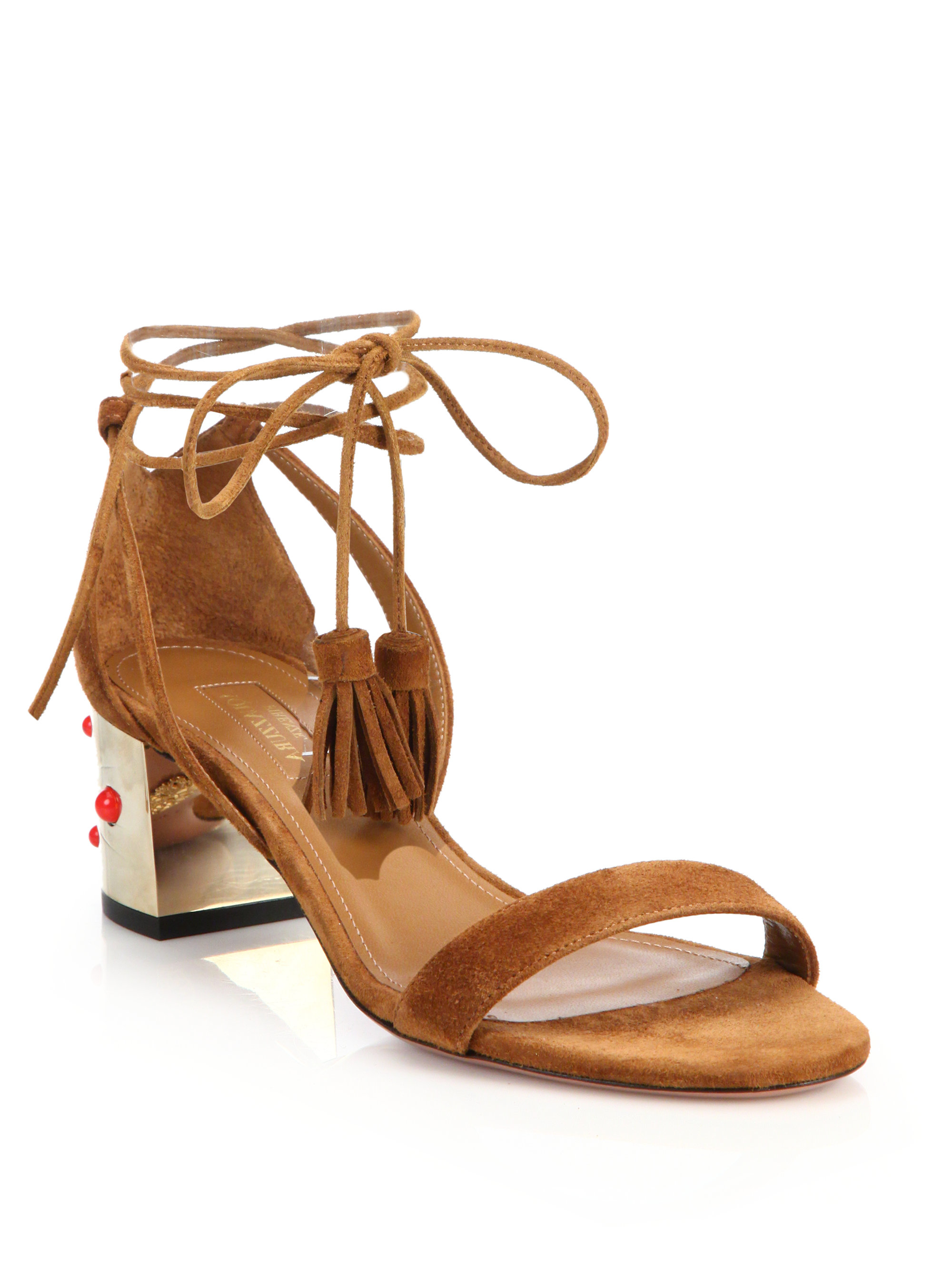 Lyst Aquazzura Cleopatra Sandals In Brown