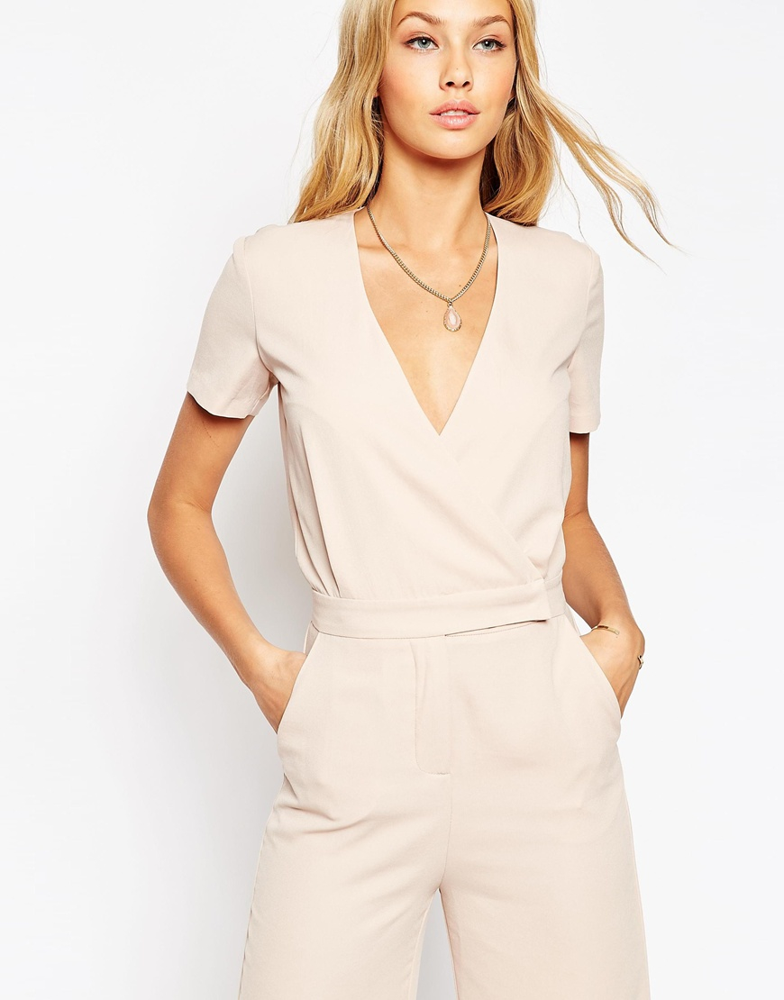 238bdff54be Lyst - ASOS Asos Tailored Wrap Jumpsuit With Midi Leg in Natural