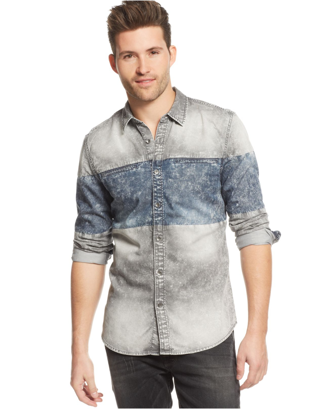 Lyst Guess Slim Fit Chest Blocked Denim Shirt In Gray