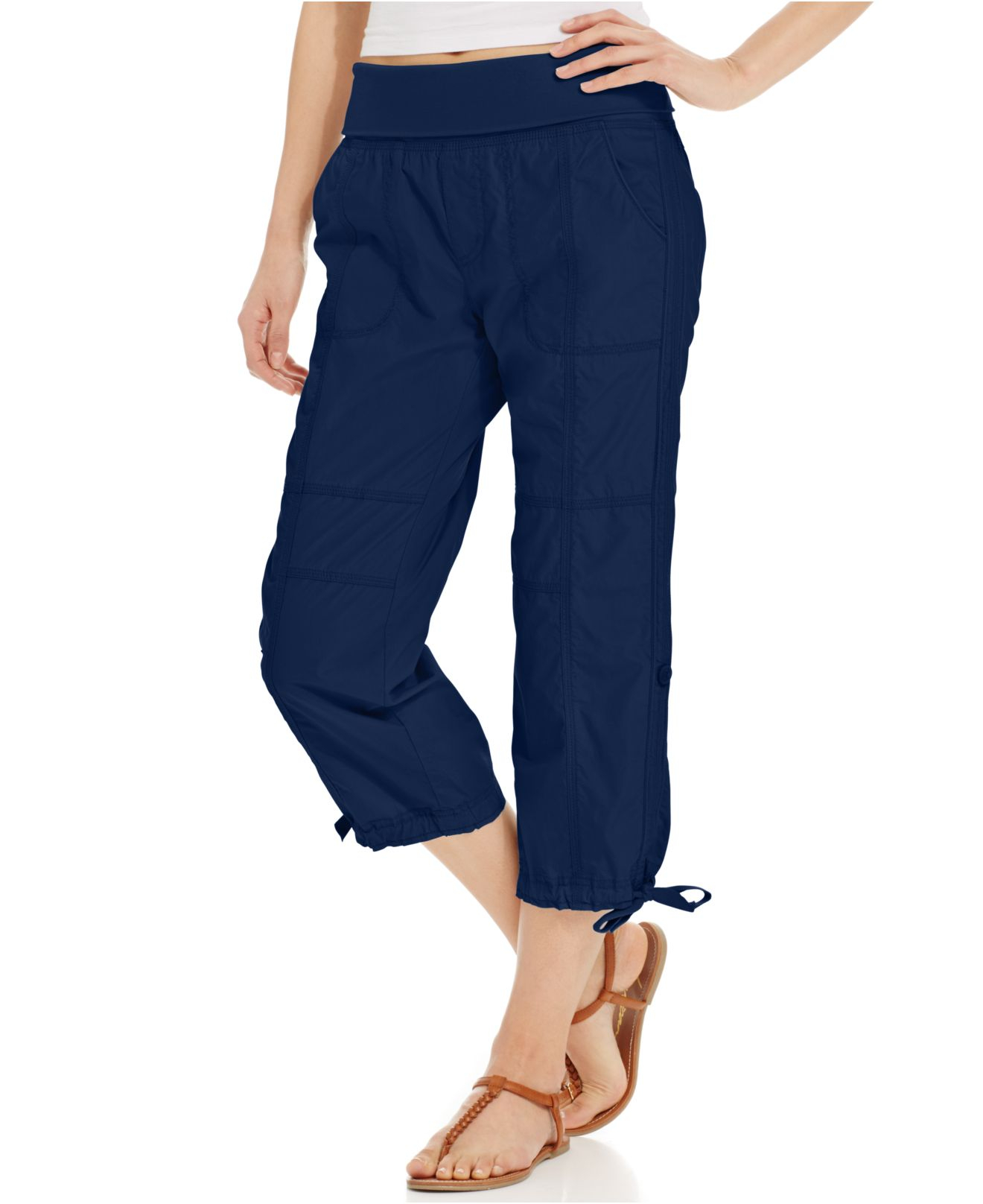 Calvin klein Cotton Capri Pants in Blue | Lyst