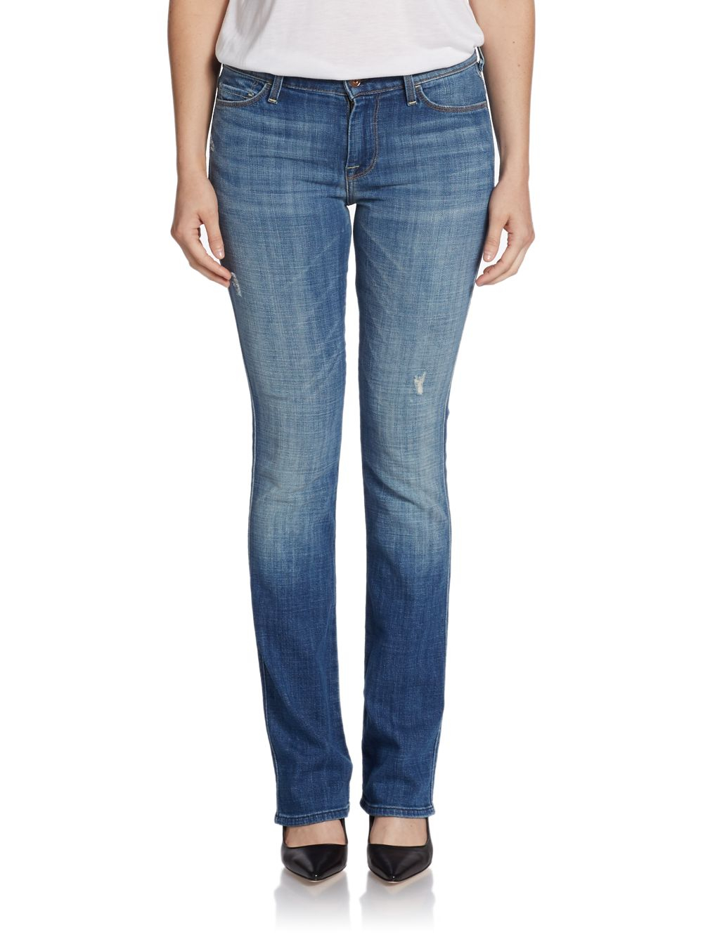 lyst 7 for all mankind skinny bootcut jeans in blue. Black Bedroom Furniture Sets. Home Design Ideas
