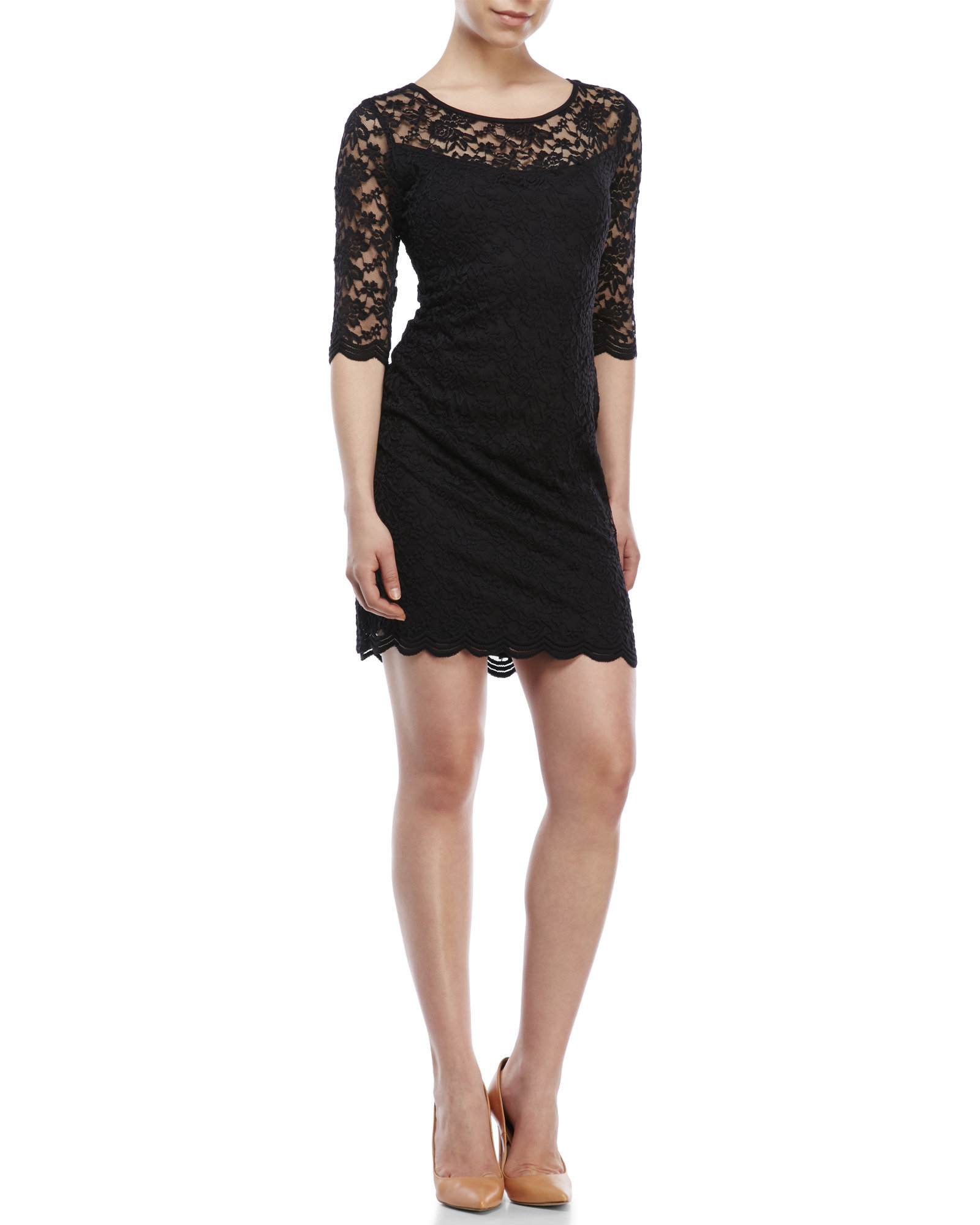 Black Illusion Dress: Connected Apparel Petite Lace Illusion Dress In Black