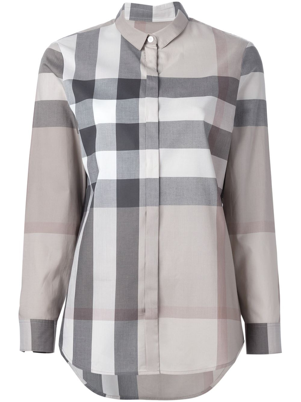 Burberry brit checked shirt in beige nude neutrals lyst for Burberry brit checked shirt