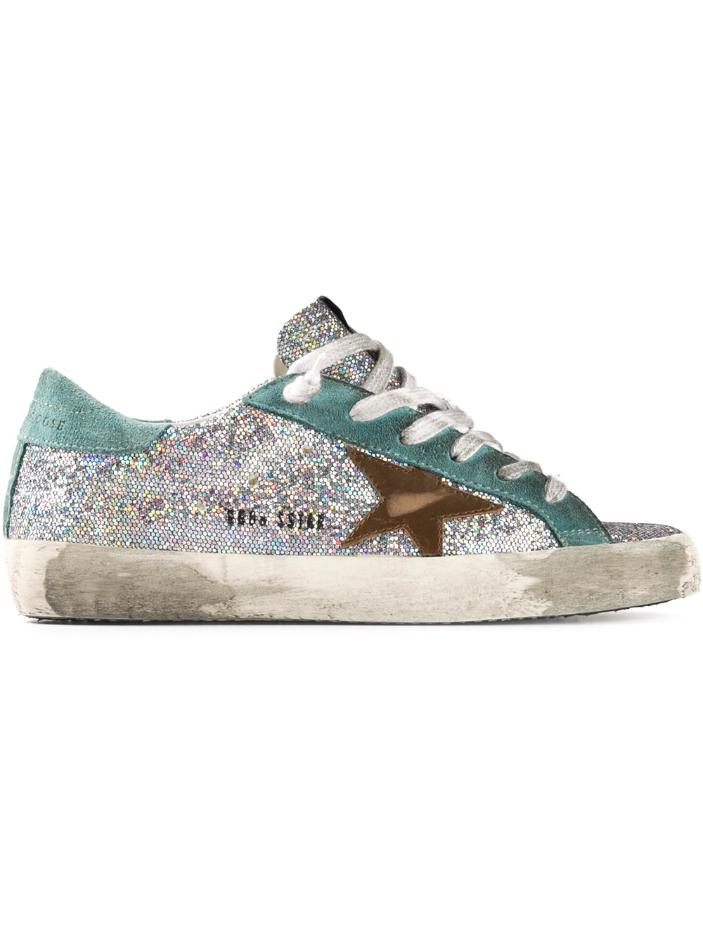 lyst golden goose deluxe brand glitter embellished sneaker in blue. Black Bedroom Furniture Sets. Home Design Ideas