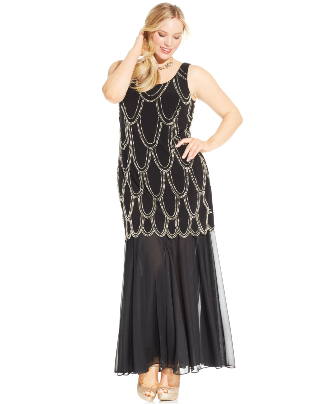 Plus size dress drop waist
