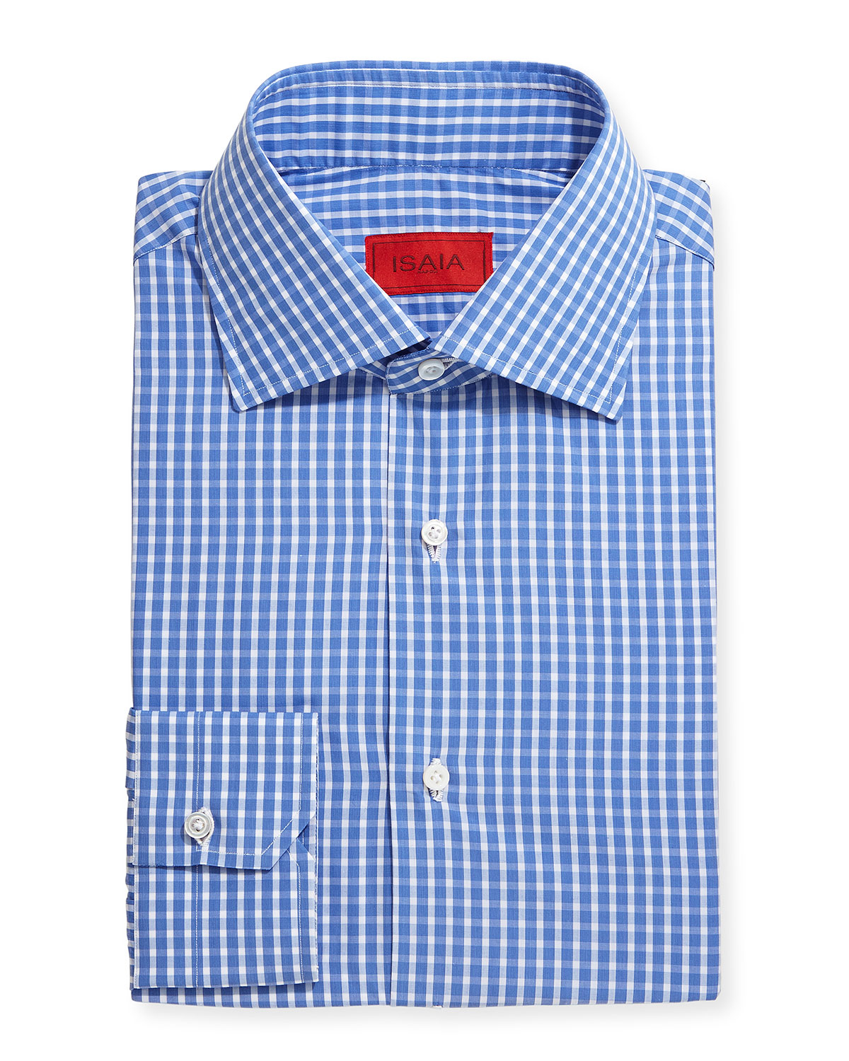 Isaia woven check dress shirt in blue for men lyst for Blue check dress shirt
