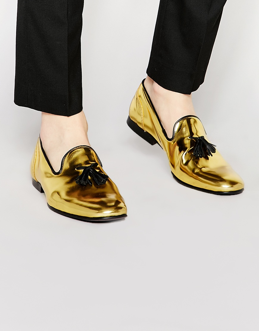 Lyst Asos Tassel Loafers In Metallic Gold Leather In
