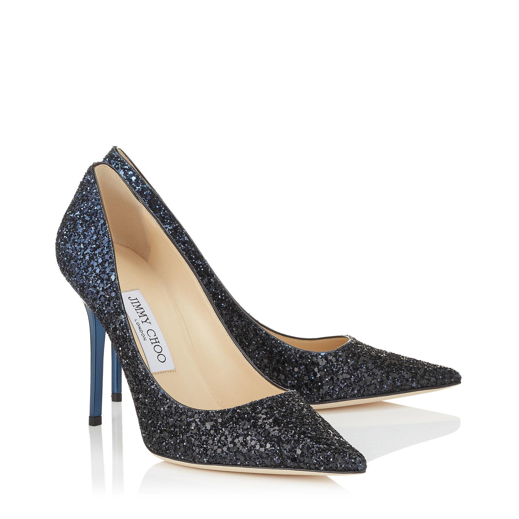 Navy Blue Glitter Court Shoes