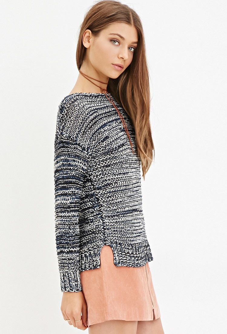 62a1f99ef89d65 Lyst - Forever 21 Marled Knit Sweater in Blue