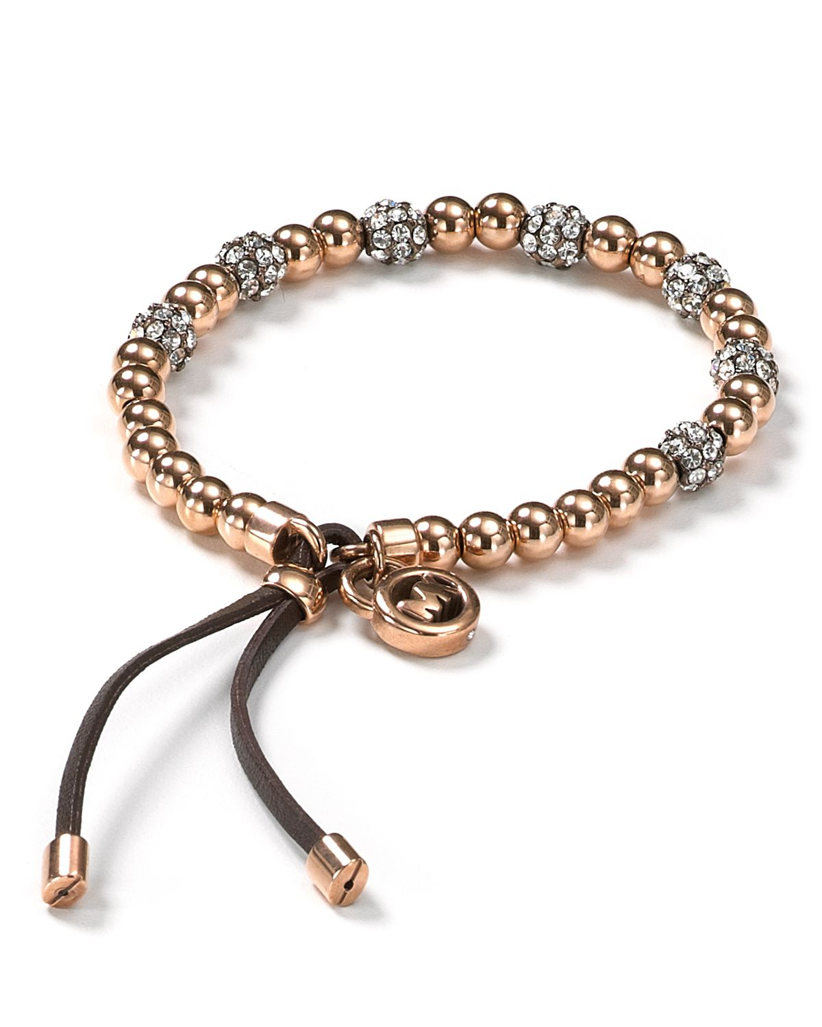 michael kors pave beaded bracelet in gold rose gold lyst. Black Bedroom Furniture Sets. Home Design Ideas
