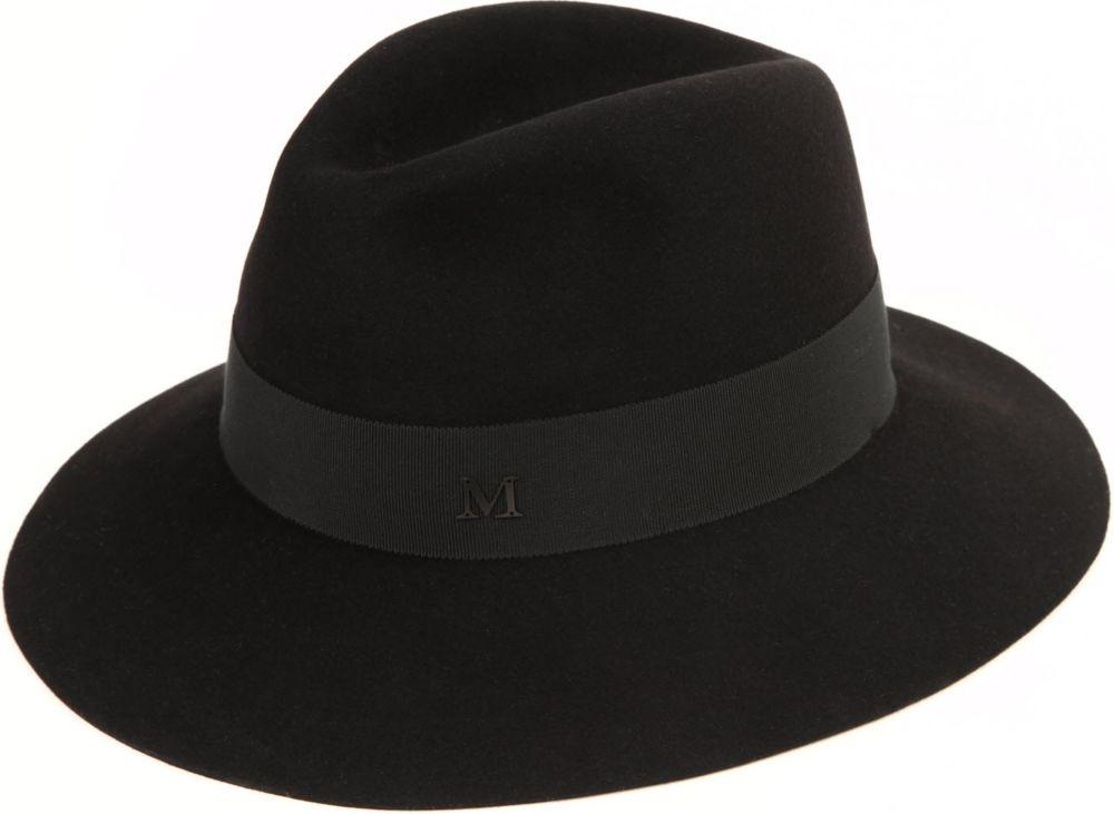 Lyst maison michel henrietta felt boyfriend hat in black for Maison michel