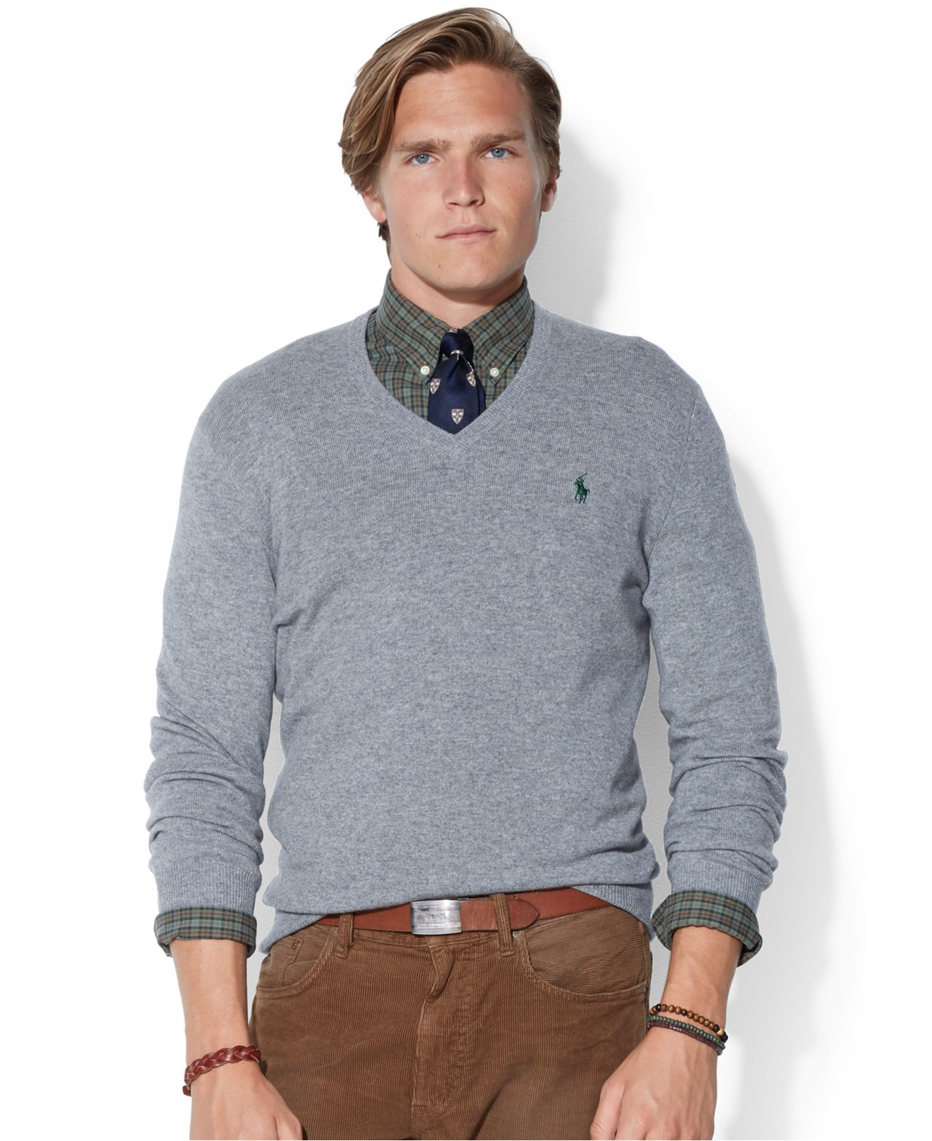 ee58ae56f72 ... wholesale lyst polo ralph lauren loryelle merino wool v neck sweater in  gray 38791 a6192