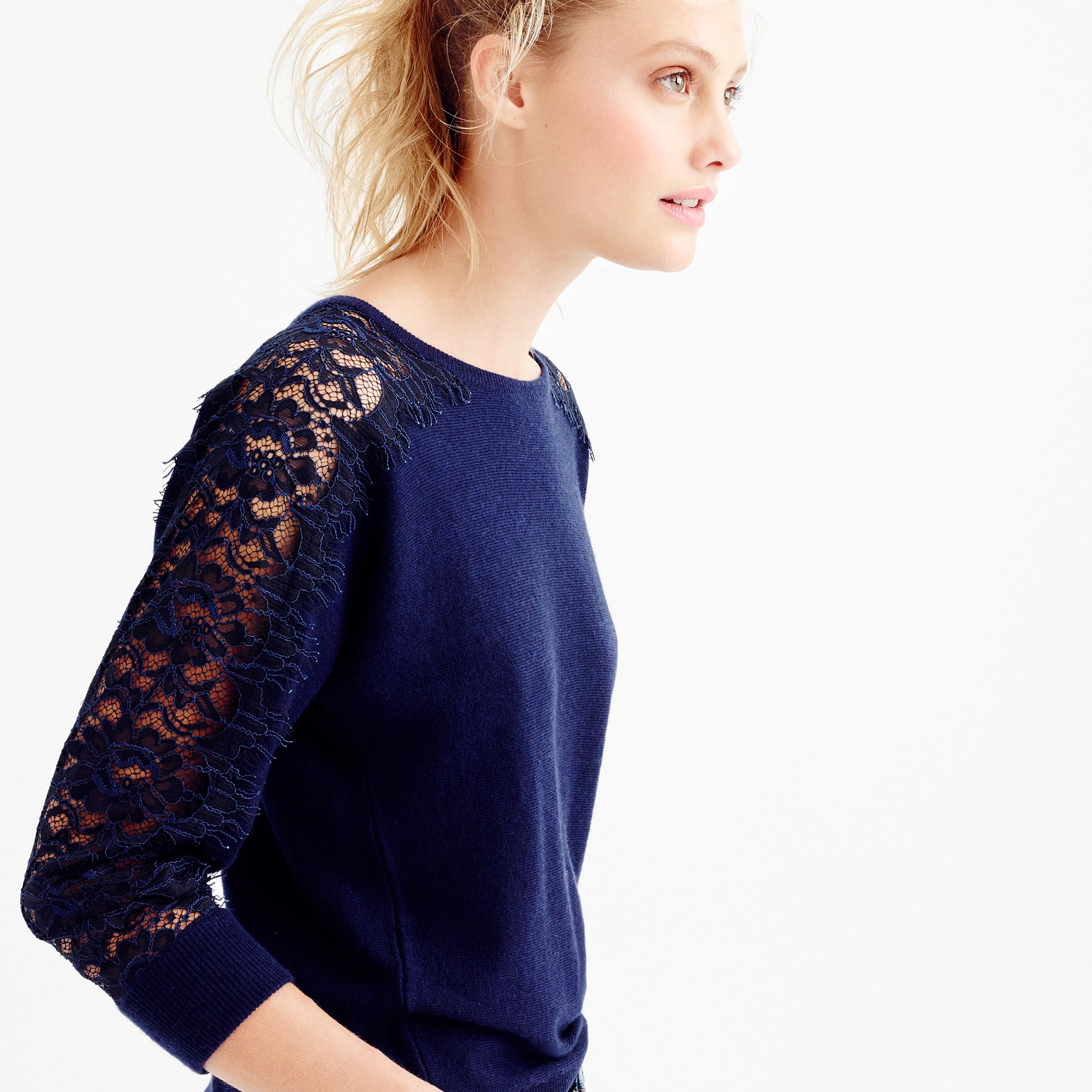 J.crew Collection Popover Sweater In Gauzy Cotton in Blue | Lyst