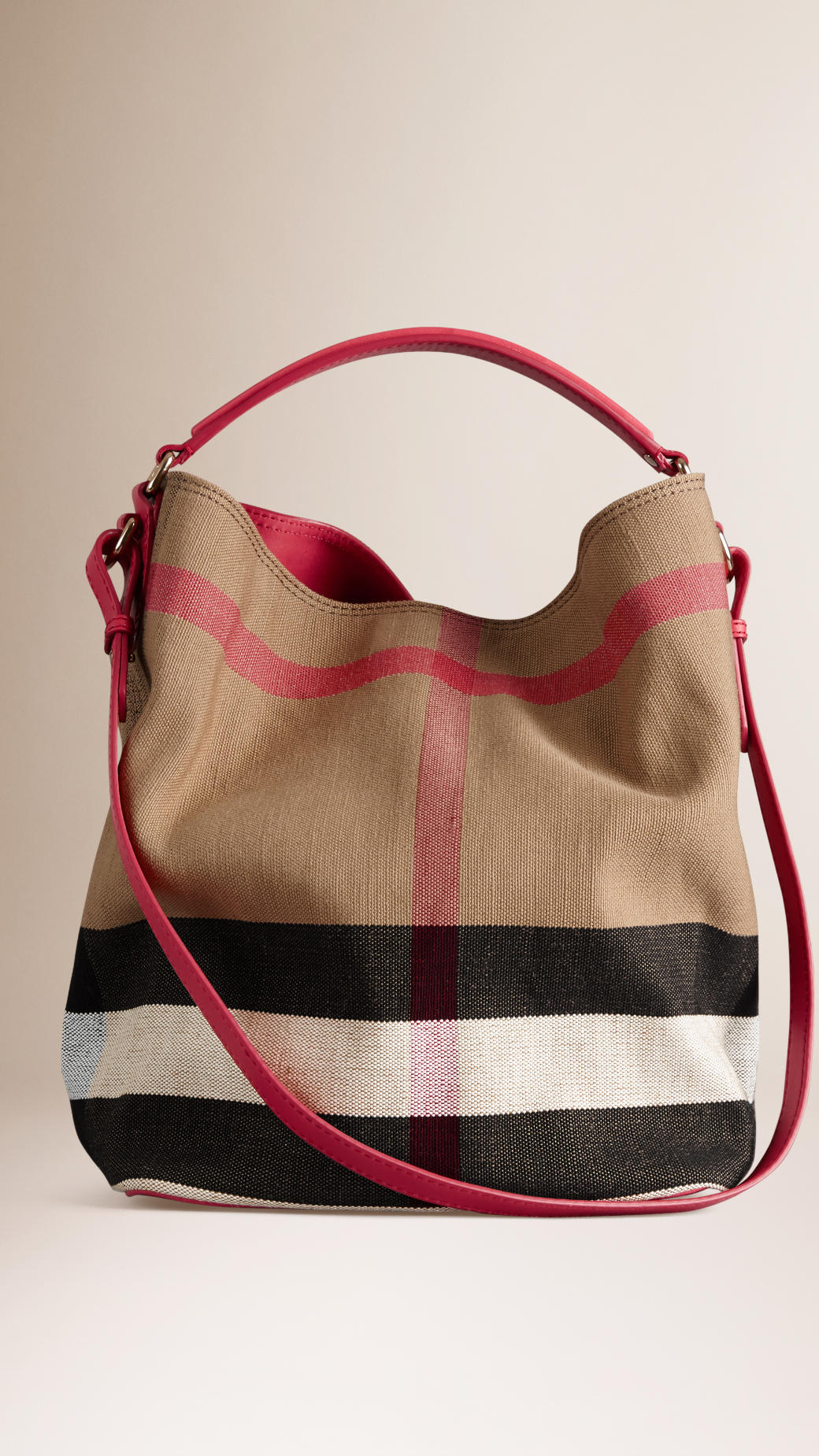45b6b097125 Lyst Burberry The Medium Ashby Canvas Check And Leather Bag In Pink