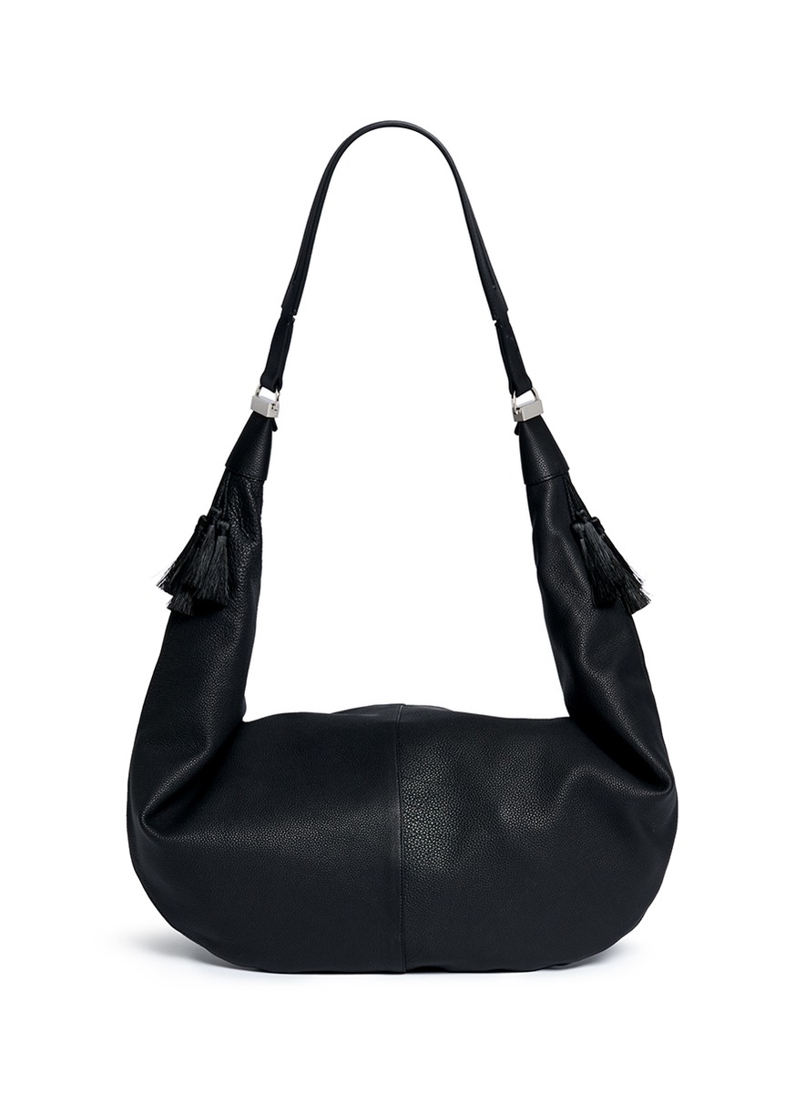 The row 'sling 15' Grainy Leather Hobo Bag in Black | Lyst