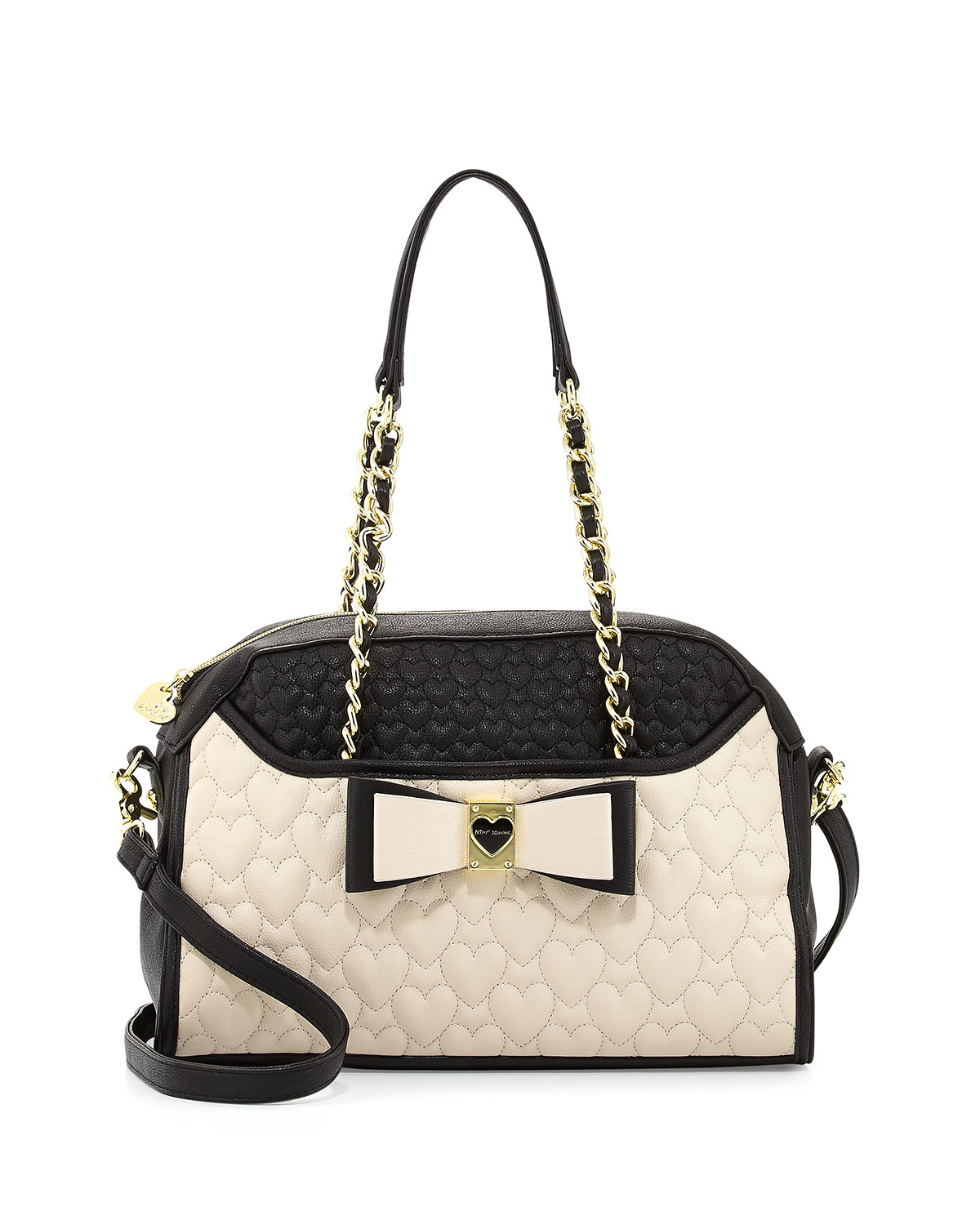 00879a75bb84 Lyst - Betsey Johnson Colorblocked Quilted Heart Dome Satchel Bag ...