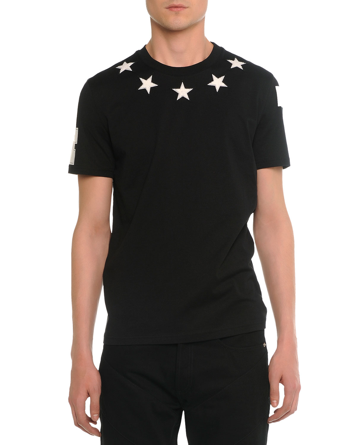 Givenchy star print t shirt in black for men lyst for Mens shirt with stars
