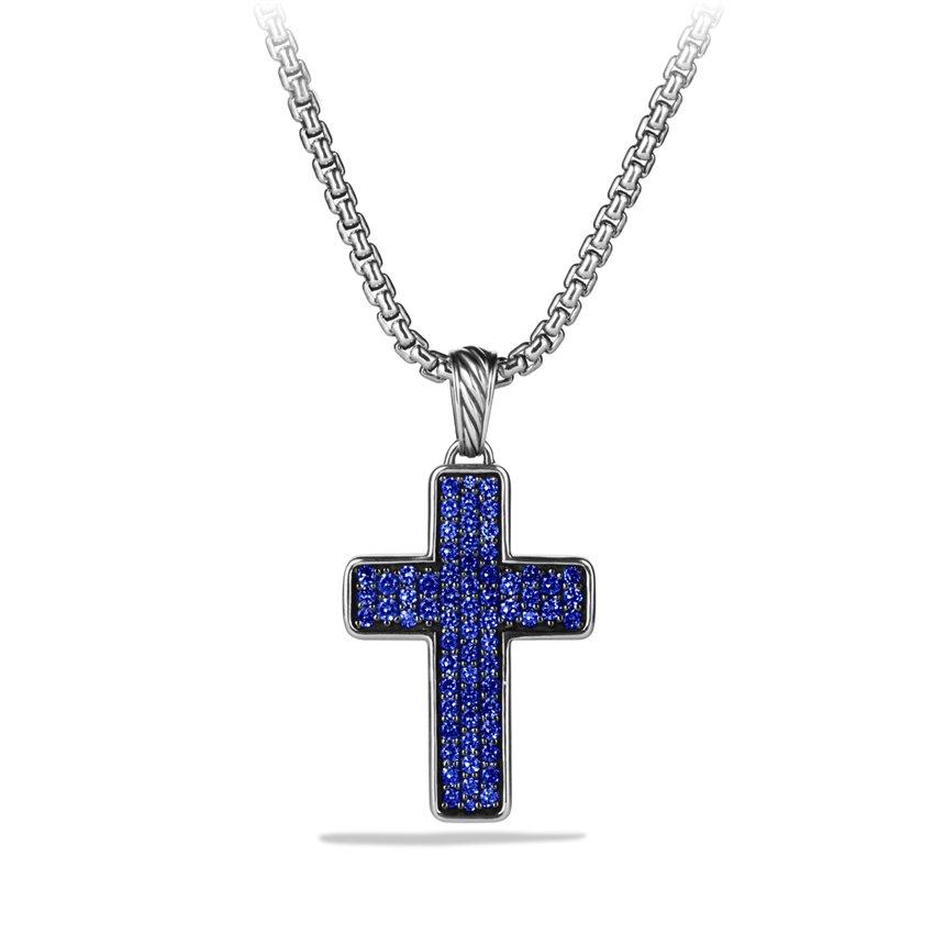 David Yurman Pav 233 Chevron Cross With Blue Sapphires On