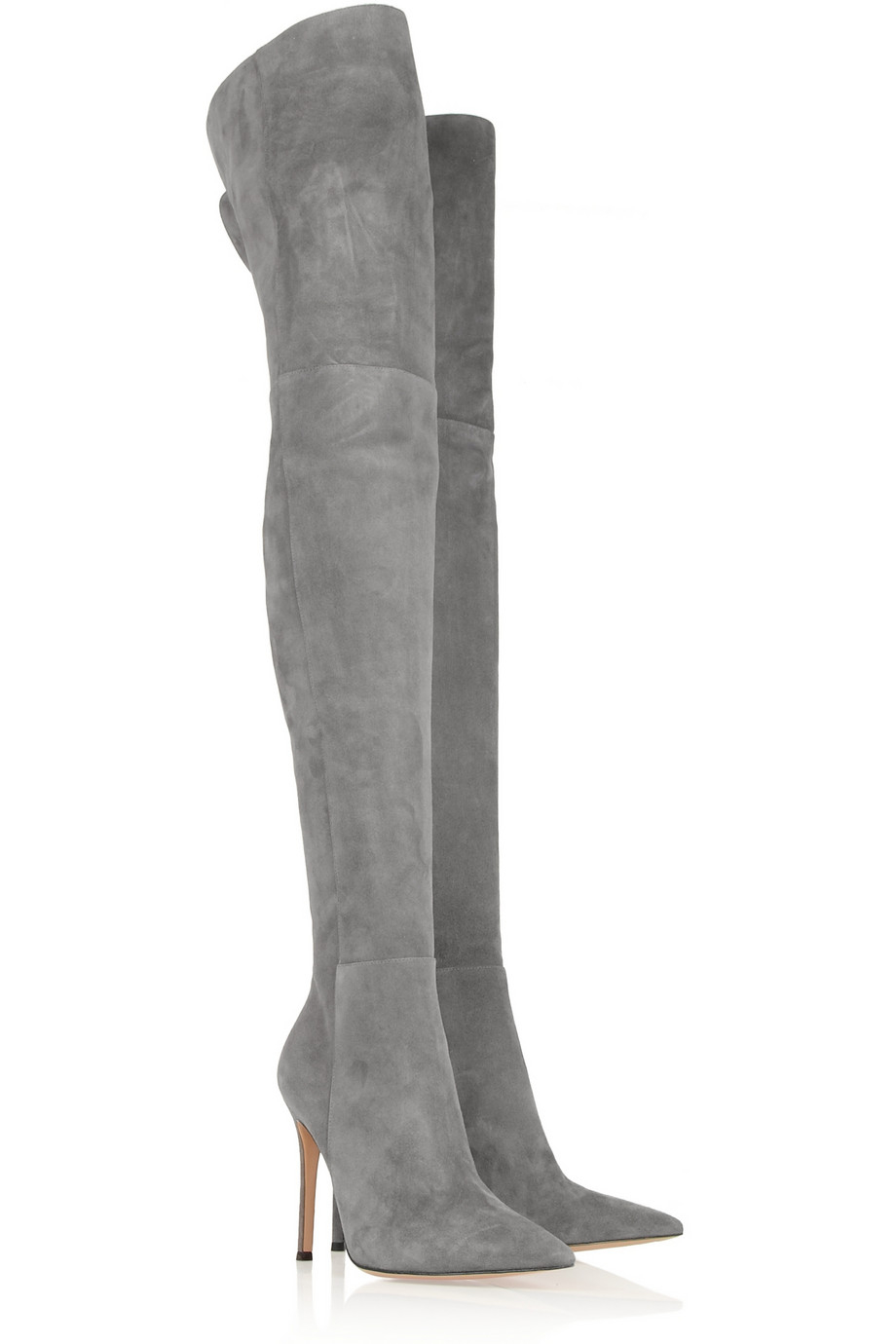 gianvito suede overtheknee boots in gray lyst