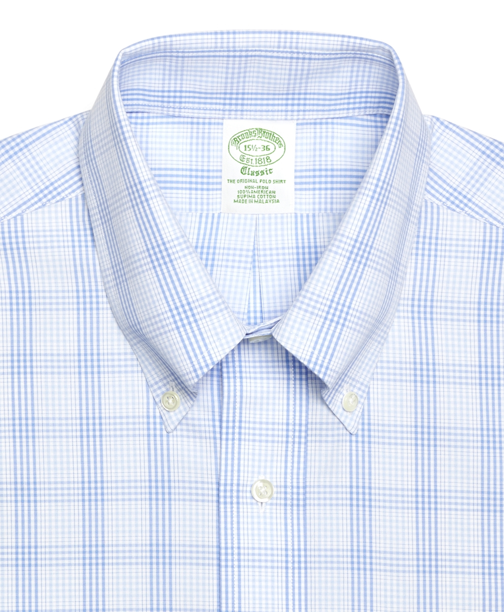 Brooks brothers check dress shirt in blue for men light for Brooks brothers dress shirt fit guide