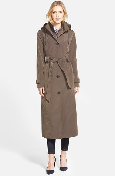 London Fog Long Single Breasted Trench Coat With Inset Bib
