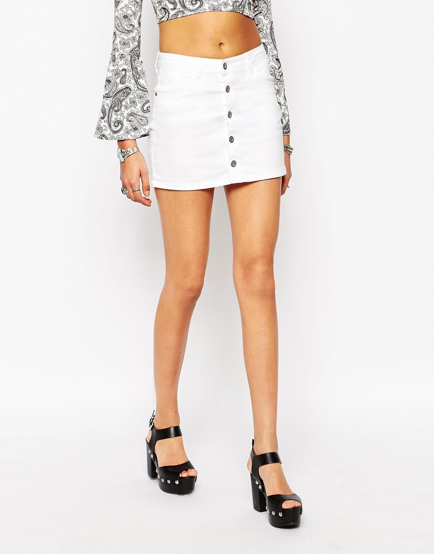 Boohoo Button Through Denim Skirt in White | Lyst