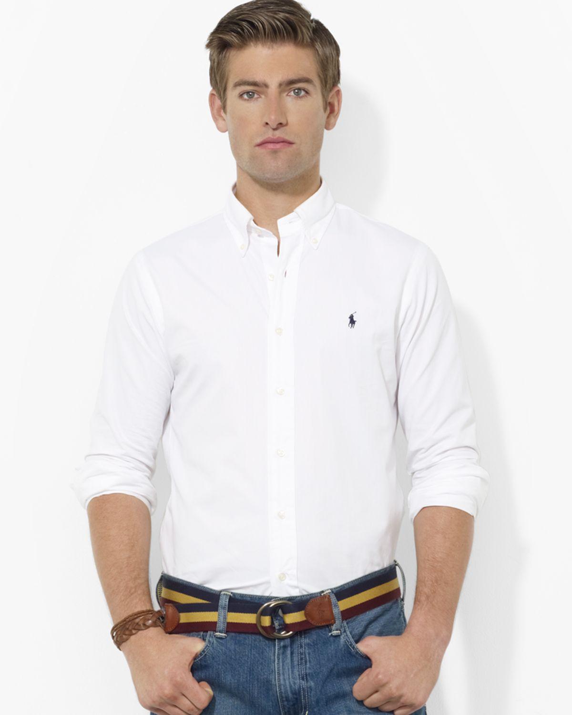 9cb13e14 Ralph Lauren Polo Custom Fit Broadcloth Blake Sport Shirt Slim Fit ...