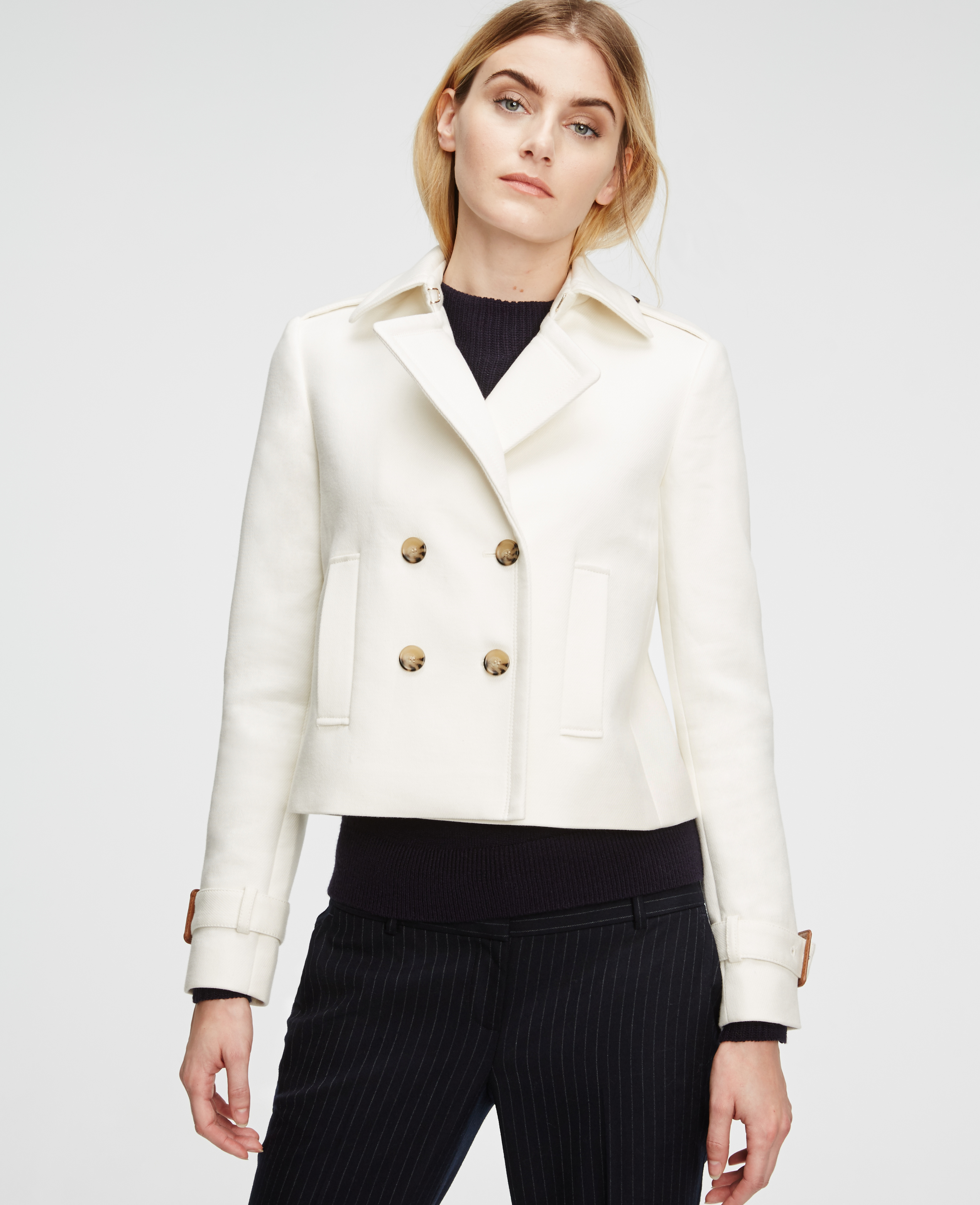 Lyst Ann Taylor Cropped Trench In White