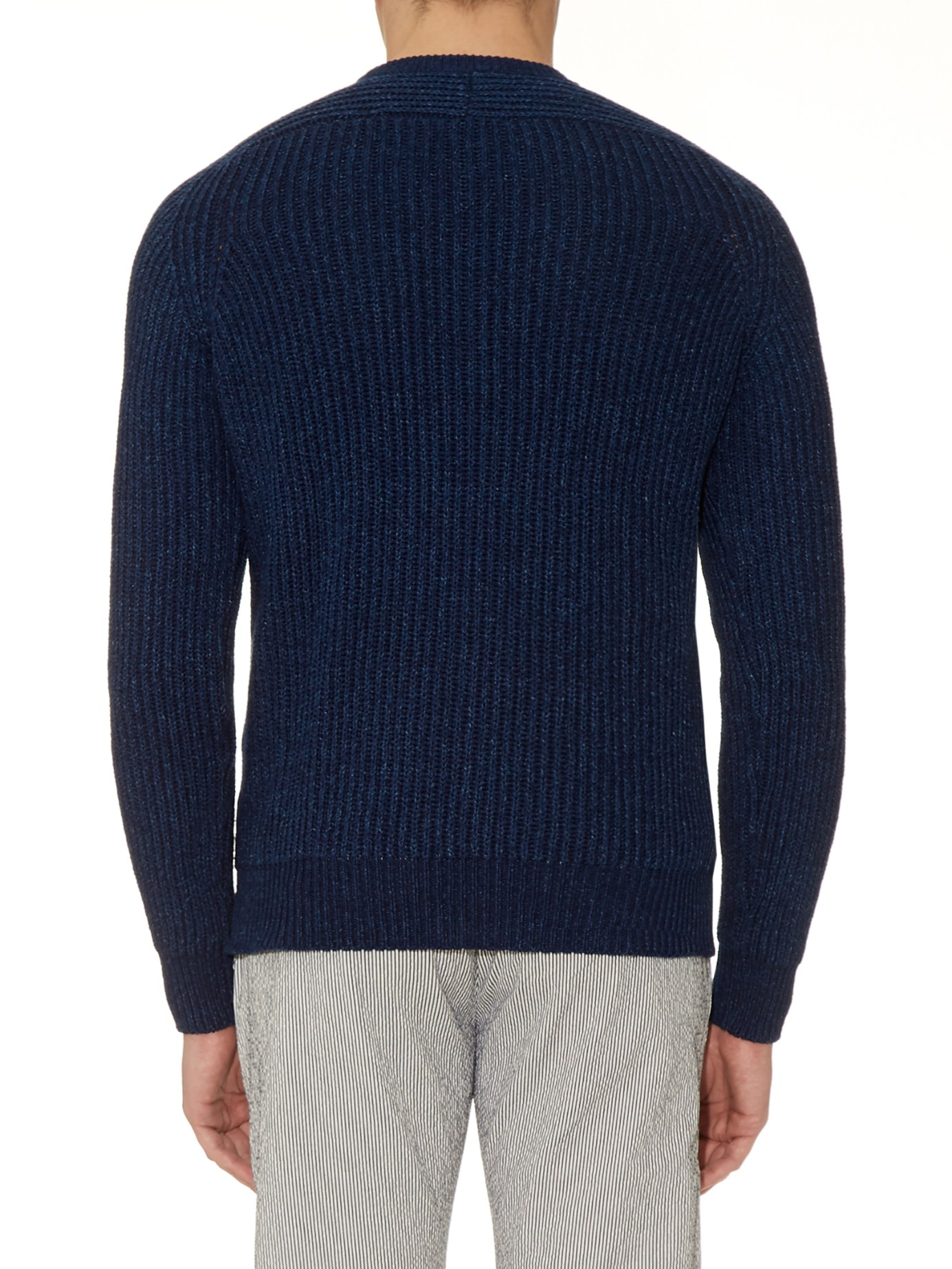 Maison kitsuné Ribbed-knit Cotton Sweater in Blue for Men | Lyst