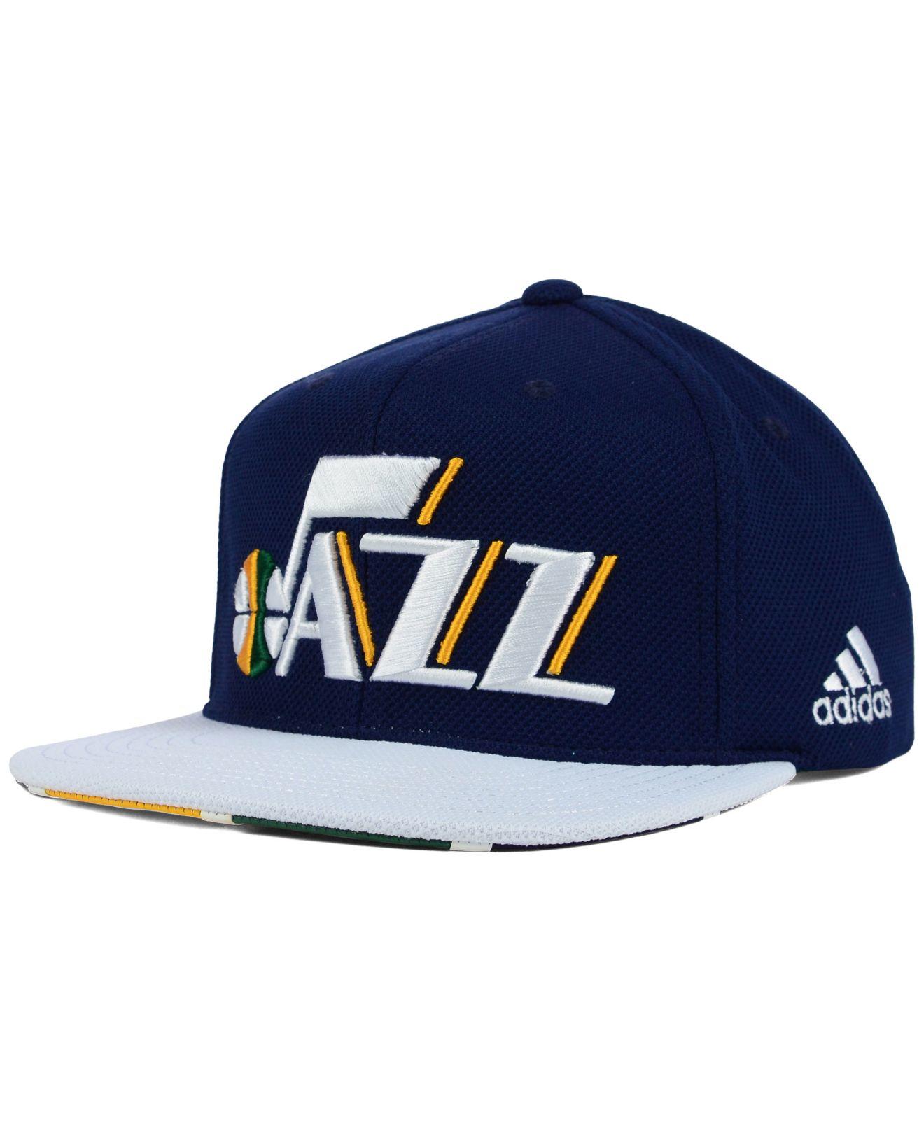 6307f83c4ecc7 ... free shipping lyst adidas utah jazz 2015 nba draft snapback cap in blue  for men a605d