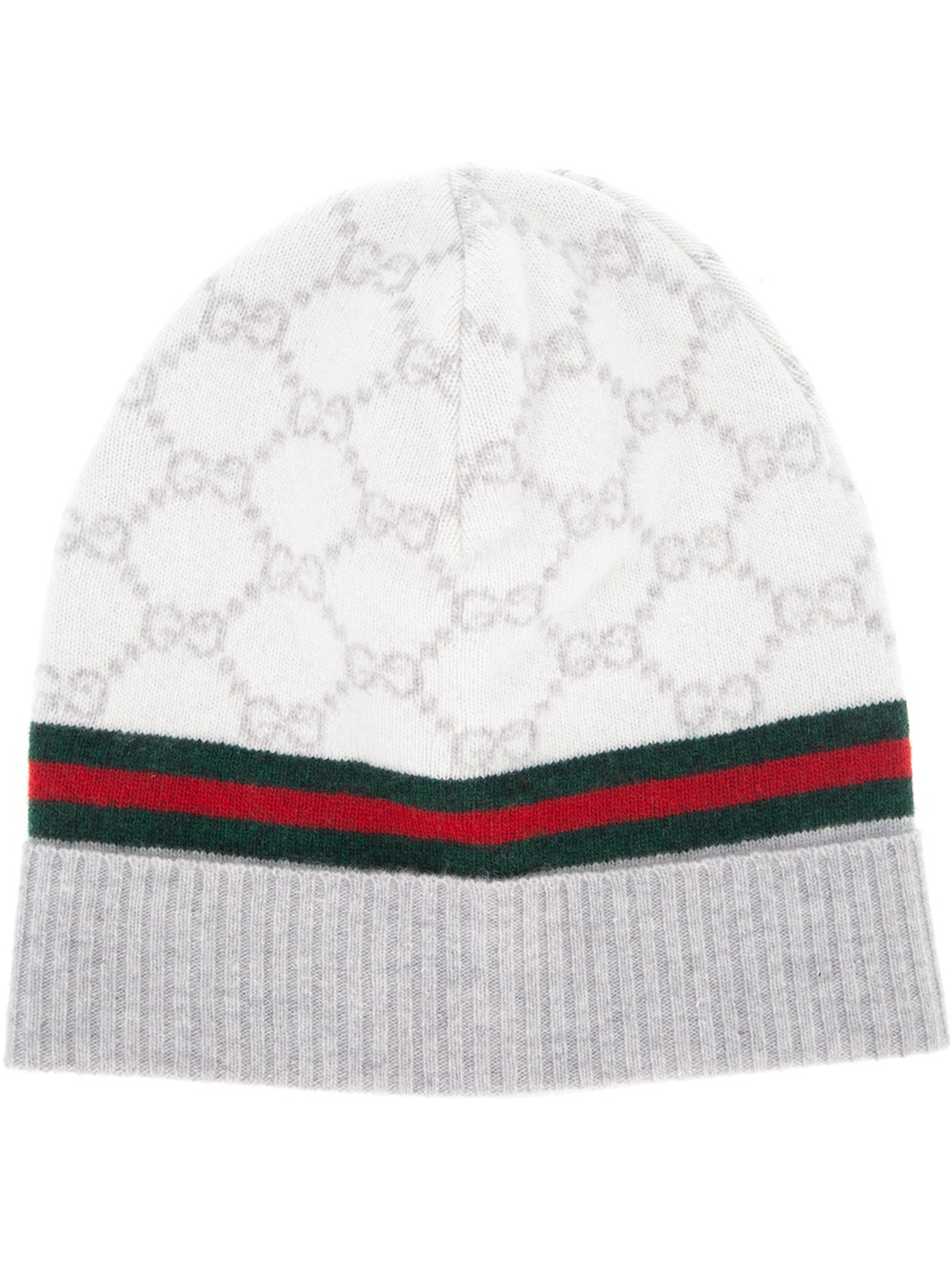 Lyst - Gucci Monogram Beanie Hat in Natural 56f1a24bd6a