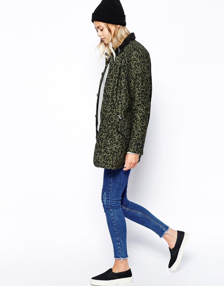 082d0ddb3d5c Carhartt Trench Coat With All Over Leopard Print in Green - Lyst