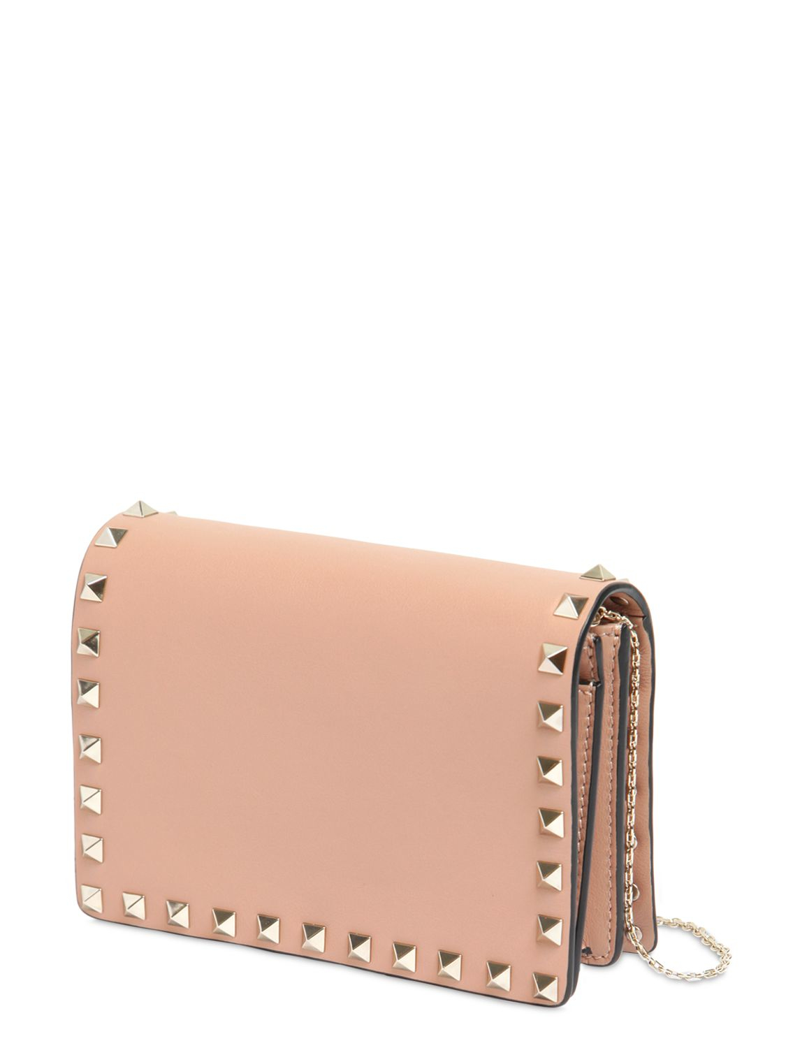 14d2ce789c Lyst - Valentino Mini Rockstud Leather Shoulder Bag in Pink