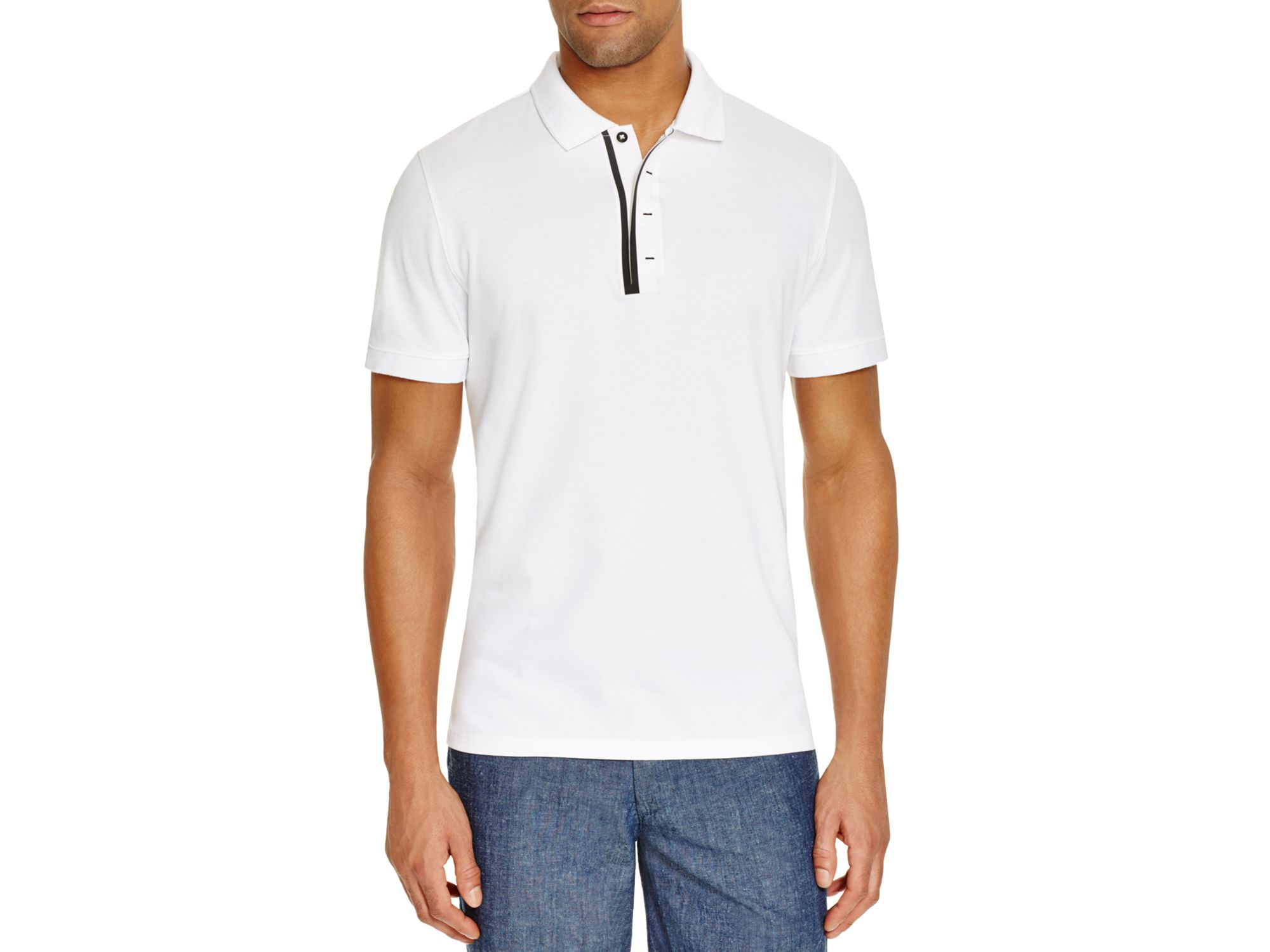 AG Green Label Ackers Regular Fit Polo In White For Men