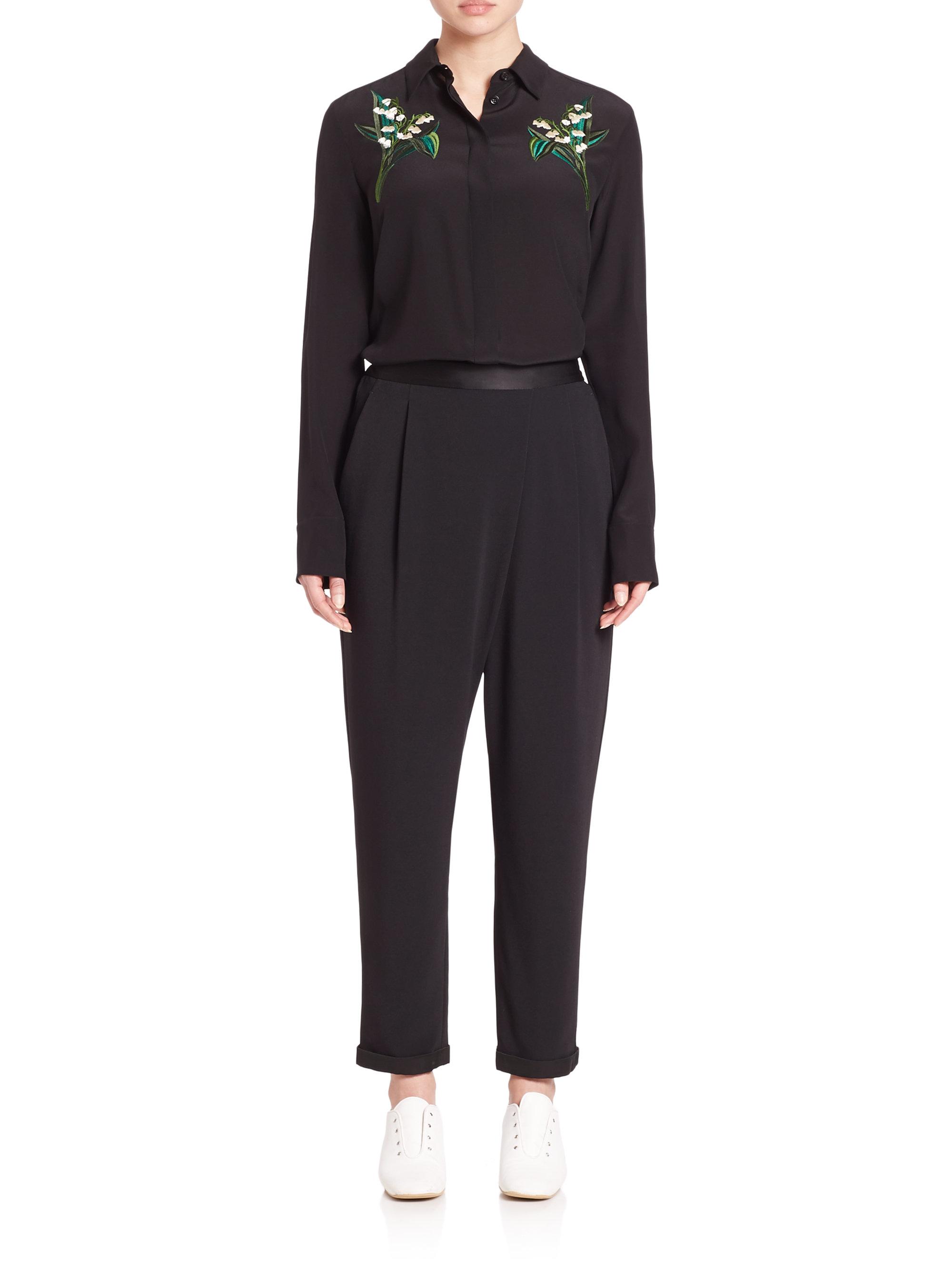 fa1981075d757 Lyst - Stella McCartney Arlo Embroidered Silk Shirt in Black