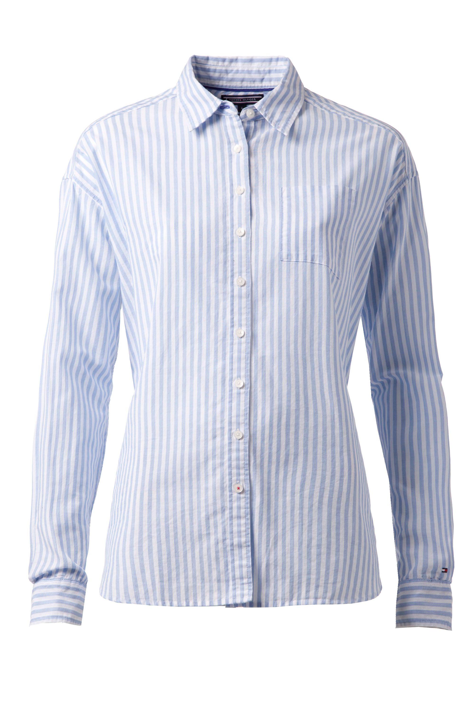 Tommy hilfiger sheena stripe shirt in blue lyst for Tommy hilfiger fitzgerald striped shirt