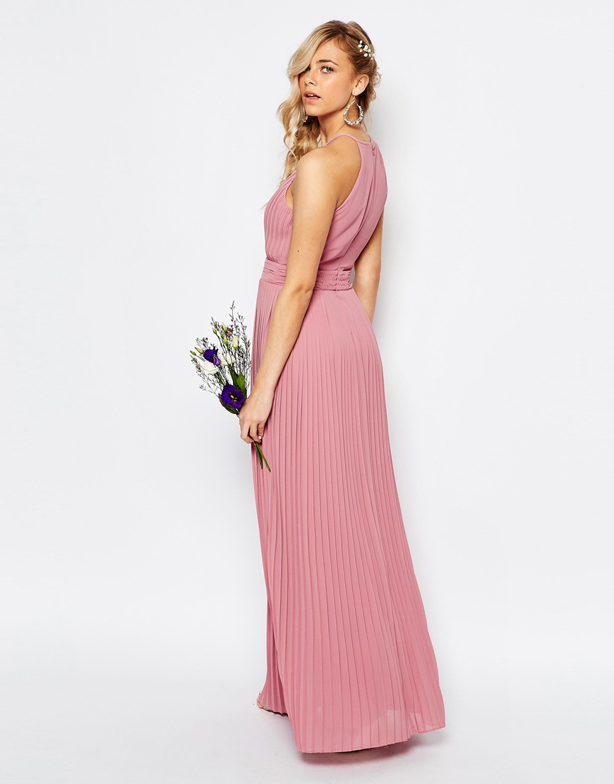 31e311c63af Tfnc High Neck Pleated Maxi Bridesmaid Dress