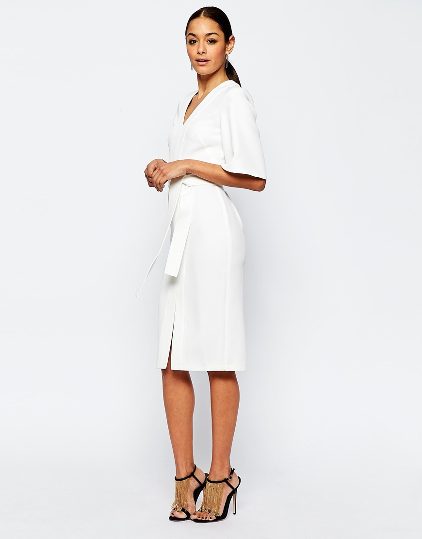 Lyst asos clean obi wrap dress with v front ivory for How to clean white dress shirts