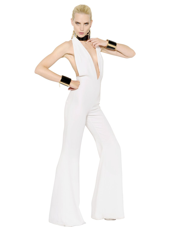 Balmain Techno Amp Viscose Blend Cady Jumpsuit In White Lyst