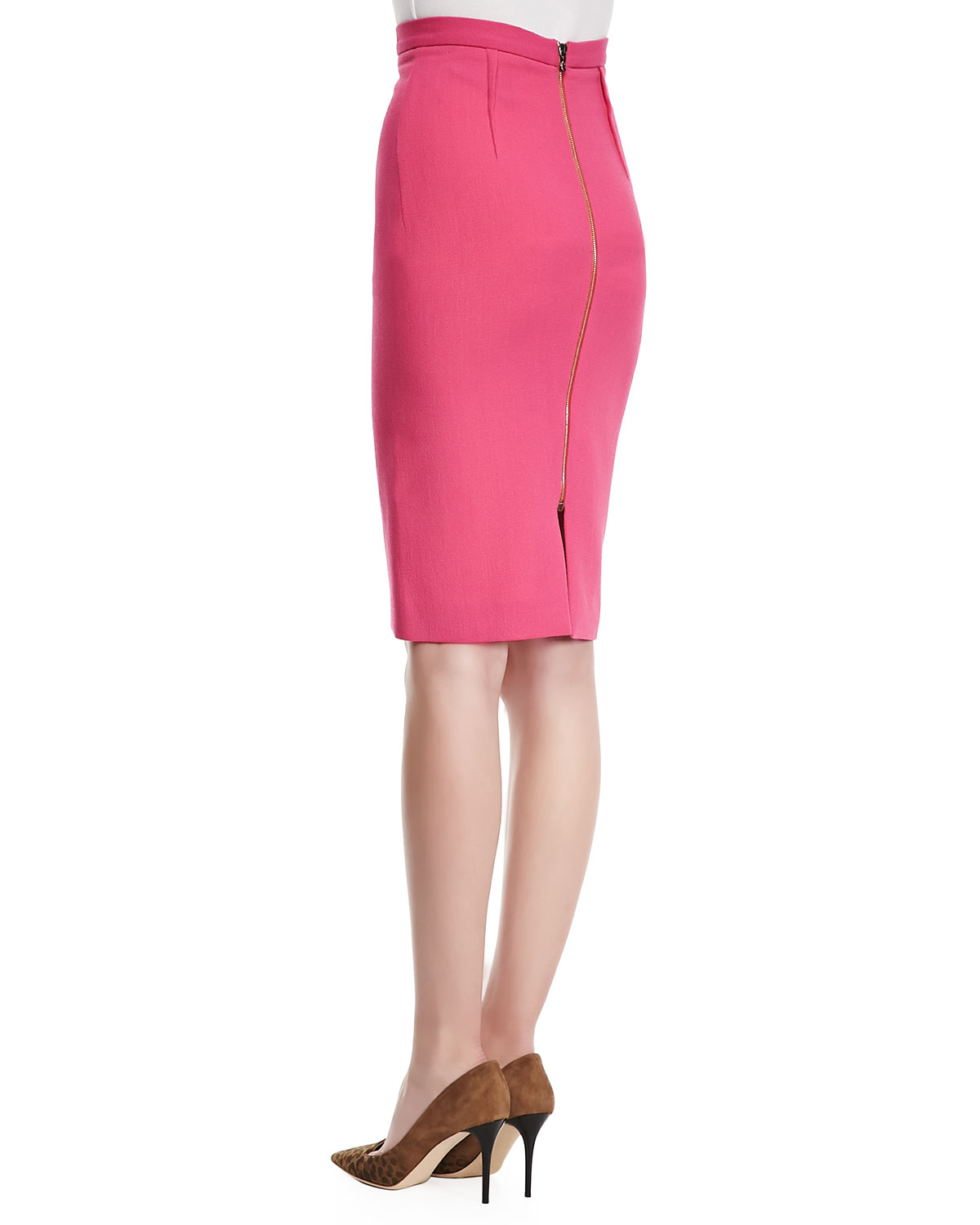 roland mouret high waist wool crepe pencil skirt in pink