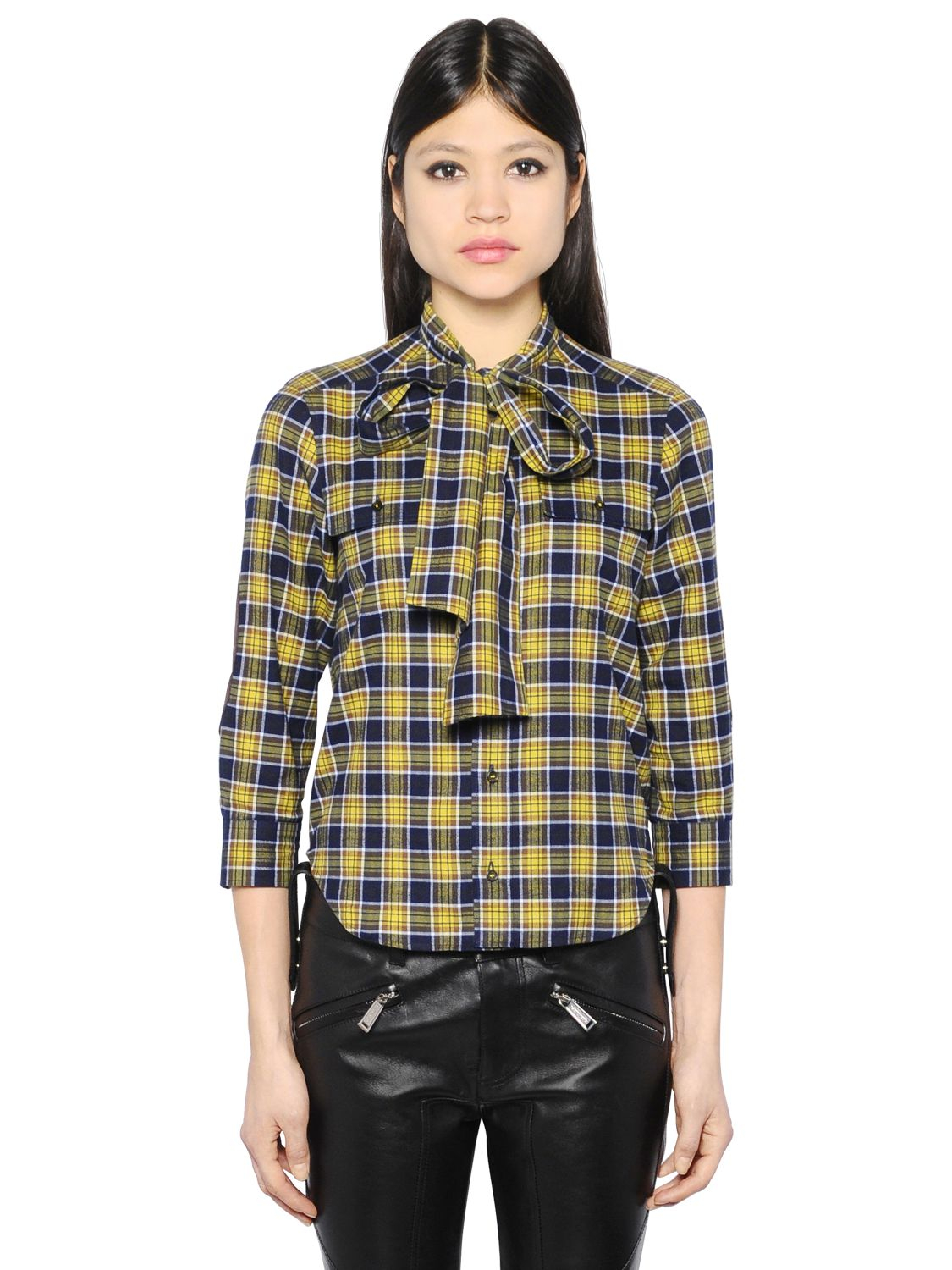 Dsquared plaid shirt in blue lyst for Blue and yellow plaid dress shirt
