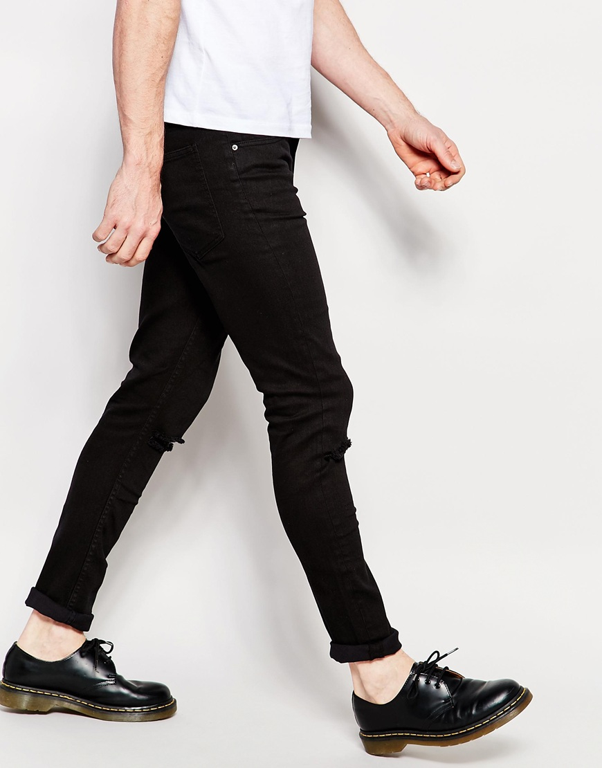 Cheap monday Jeans Tight Skinny Fit Ripped Black in Black for Men