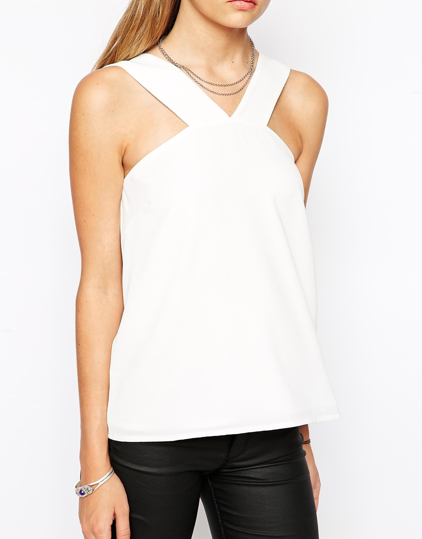 6f1a1e5a52fef ASOS Thick Halterneck Strap Cami Top in White - Lyst