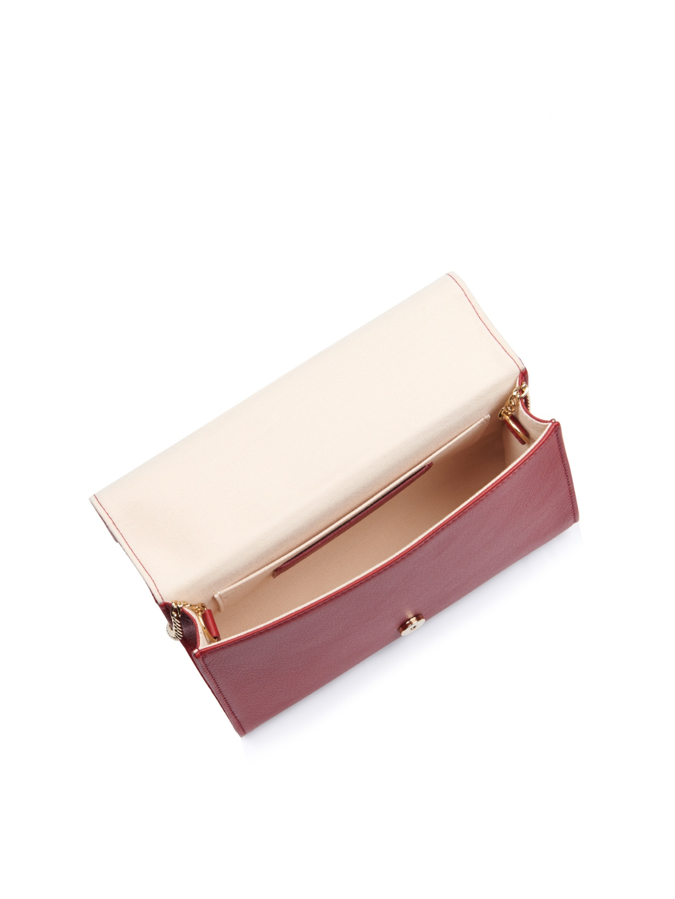 chloe metallic leather clutch